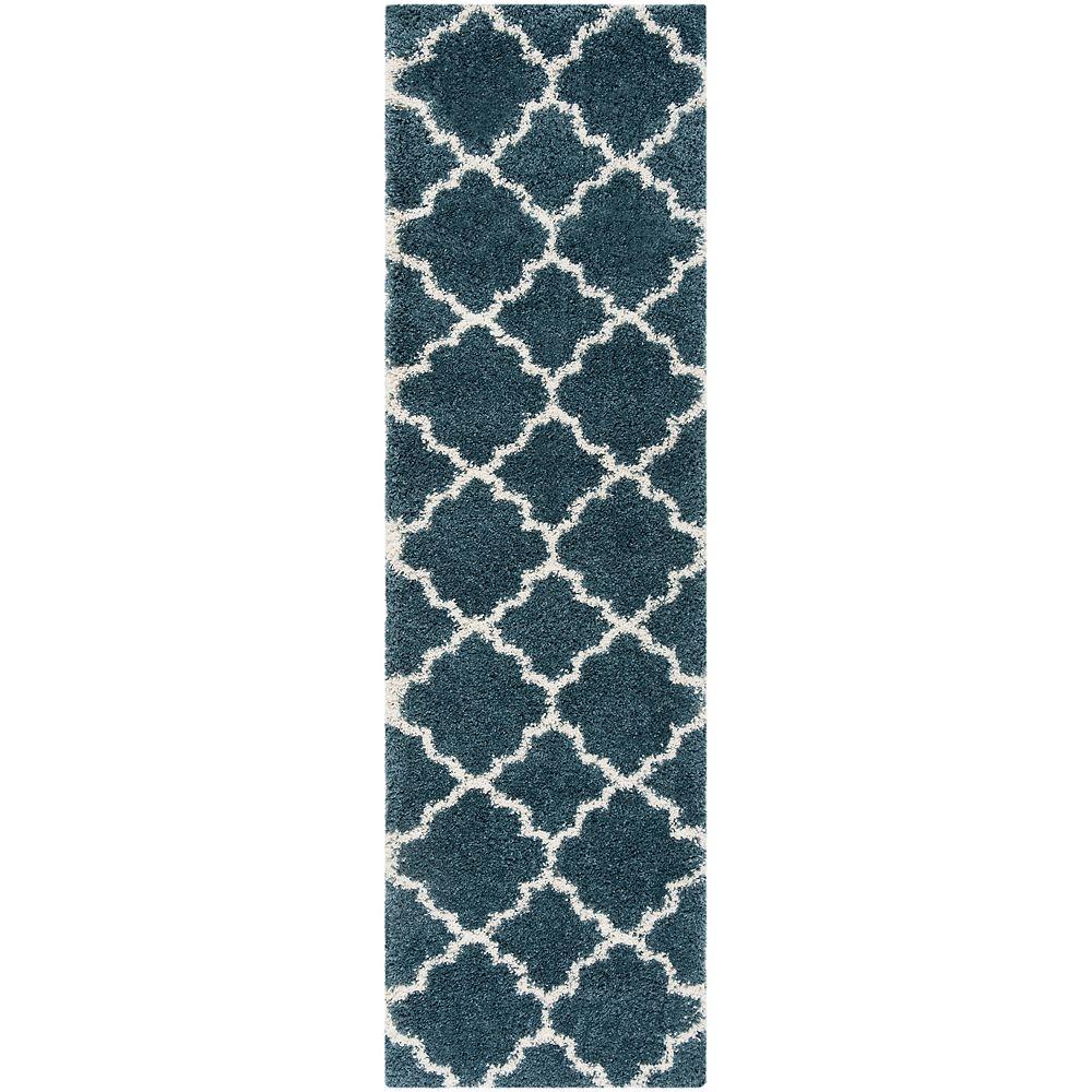 Safavieh Hudson Shag Eliot Slate Blue / Ivory 2 ft. 3-inch X 10 ft. Runner