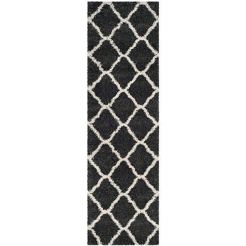 Safavieh Hudson Shag Francine Dark Grey / Ivory 2 ft. 3-inch X 8 ft. Runner