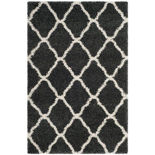Safavieh Hudson Shag Francine Dark Grey / Ivory 5 ft. 1-inch X 7 ft. 6-inch Area Rug