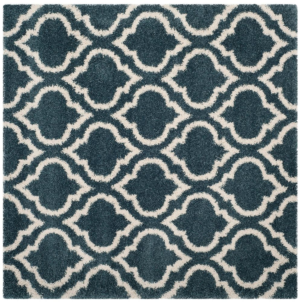 Safavieh Hudson Shag Searlait Slate Blue / Ivory 7 ft. X 7 ft. Square Area Rug