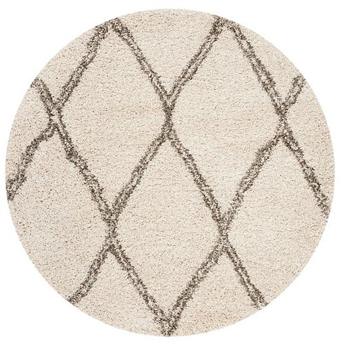 Safavieh Hudson Shag Siomha Ivory / Grey 5 ft. X 5 ft. Round Area Rug