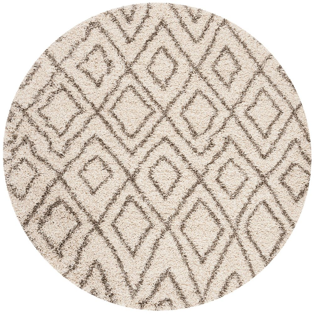 Safavieh Hudson Shag Hannan Ivory / Grey 5 ft. X 5 ft. Round Area Rug