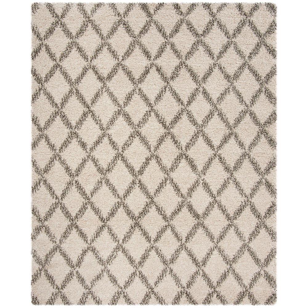 Safavieh Tapis d'intérieur, 8 pi x 10 pi, Hudson Shag Roswell, ivoire / gris