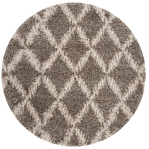 Safavieh Hudson Shag Roswell Grey / Ivory 7 ft. X 7 ft. Round Area Rug