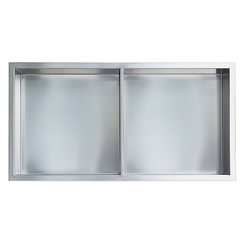 12 in. x 24 in. Stainless Steel Shower Niche with Middle Shelf in Brushed