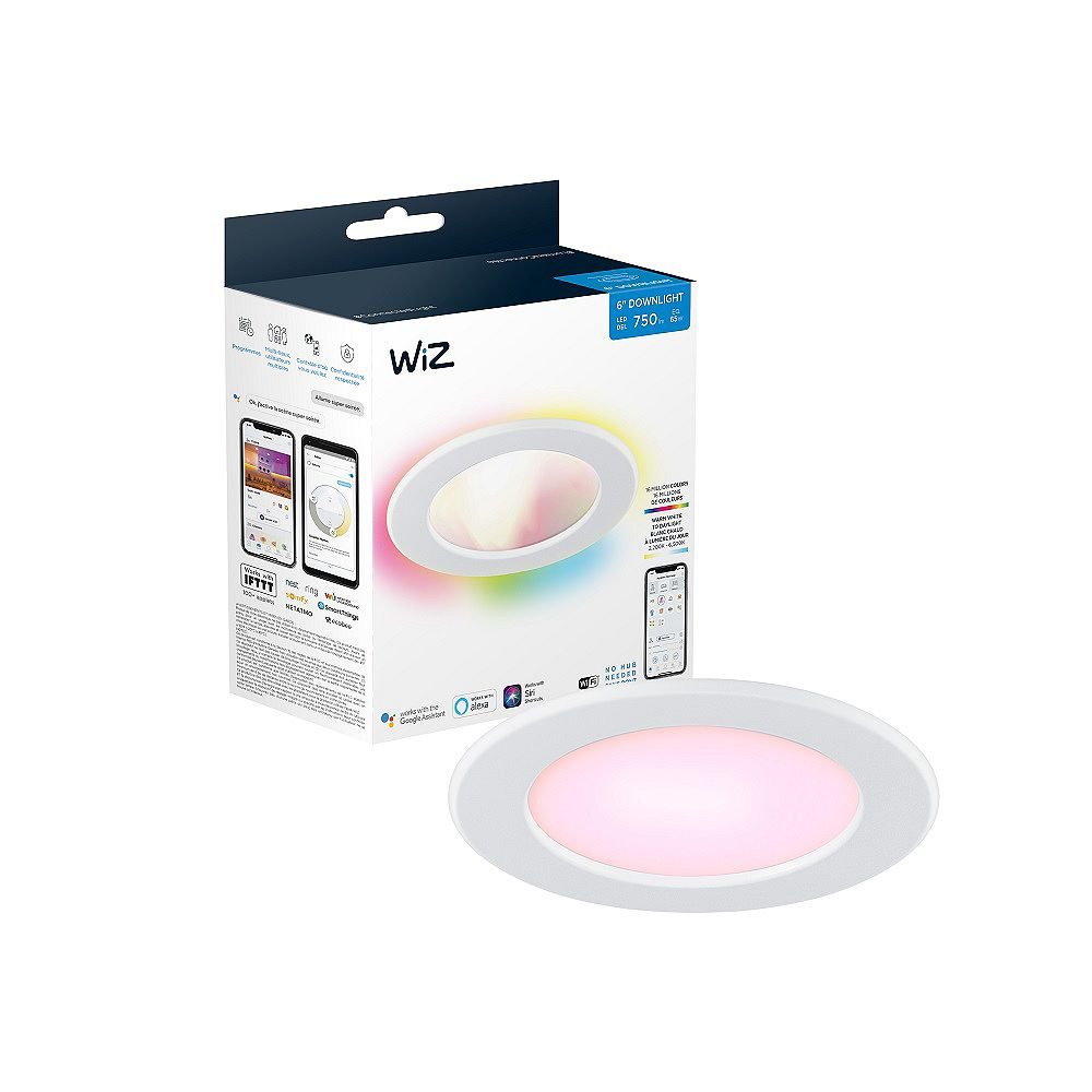 Philips WiZ 65W 6-inch Downlight WiFi Full Colour & Tunable White (2200-6500K) Smart LED Light Fixture