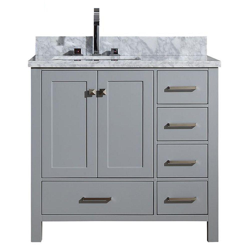 ARIEL Cambridge 37 inch Left Offset Single Rectangle Sink Vanity In Grey