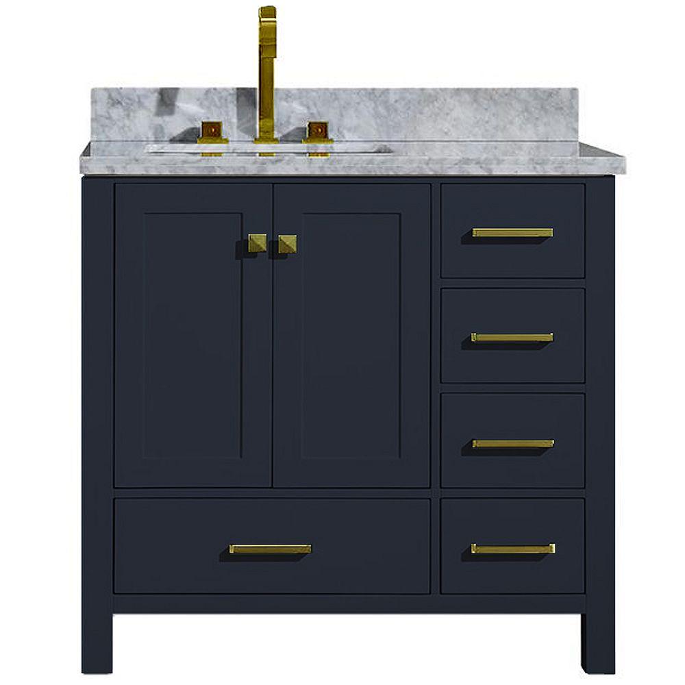 ARIEL Cambridge 37 inch Left Offset Single Rectangle Sink Vanity In Midnight Blue