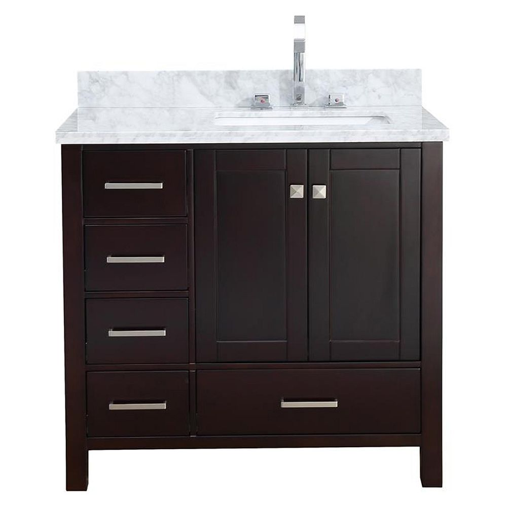 ARIEL Cambridge 37 inch Right Offset Single Rectangle Sink Vanity In Espresso