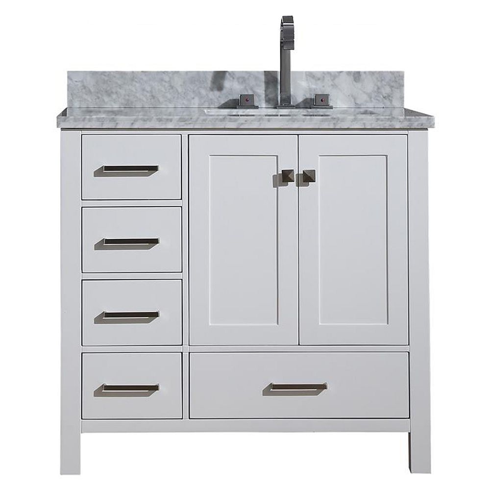 ARIEL Cambridge 37 inch Right Offset Single Rectangle Sink Vanity In White