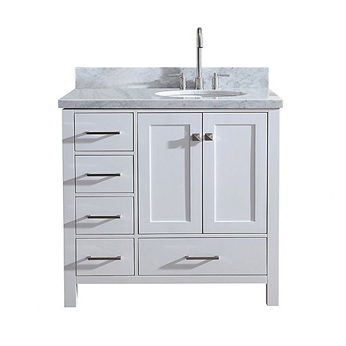 ARIEL Cambridge 37 inch Right Offset Single Oval Sink Vanity In White