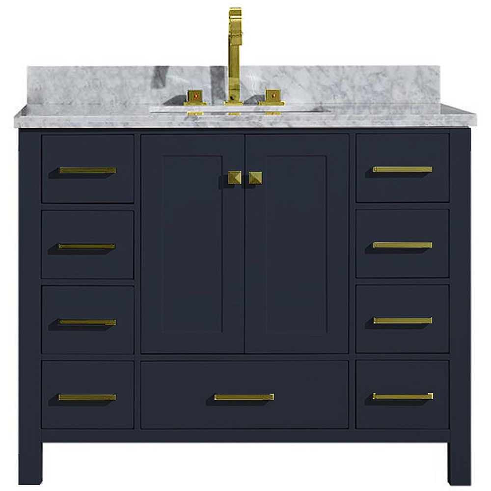 ARIEL Cambridge 43 inch Single Rectangle Sink Vanity In Midnight Blue