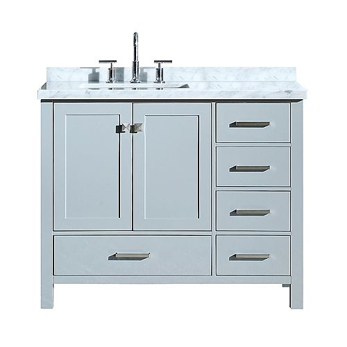 ARIEL Cambridge 43 inch Left Offset Single Rectangle Sink Vanity In Grey