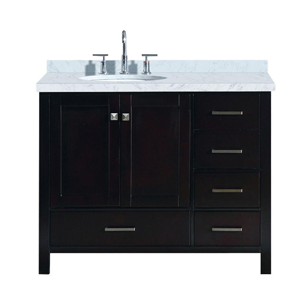 ARIEL Cambridge 43 inch Left Offset Single Oval Sink Vanity In Espresso