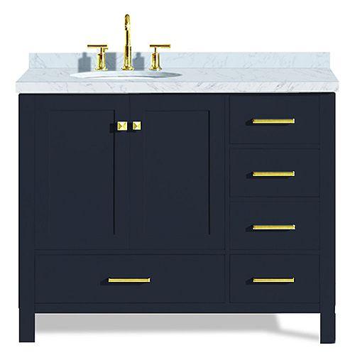 ARIEL Cambridge 43 inch Left Offset Single Oval Sink Vanity In Midnight Blue
