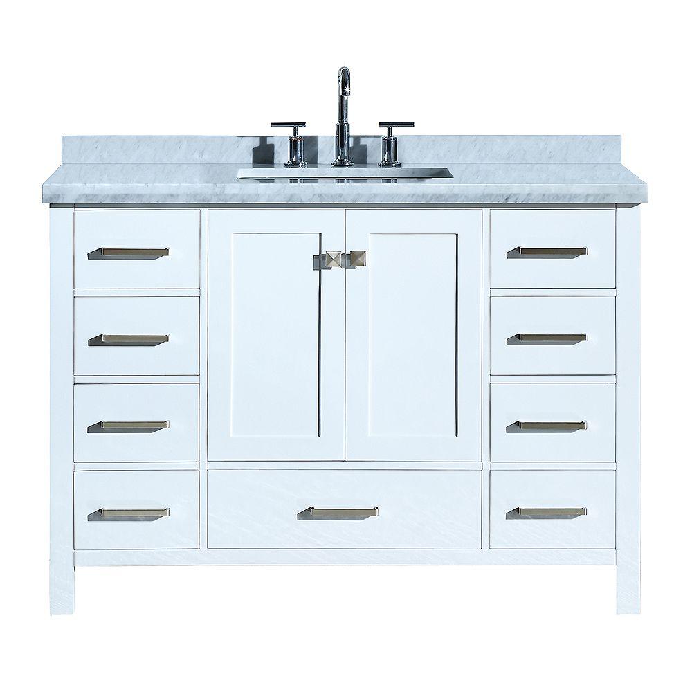 ARIEL Cambridge 49 inch Single Rectangle Sink Vanity In White
