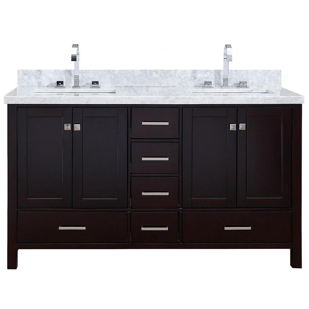 ARIEL Cambridge 61 inch Double Rectangle Sink Vanity In Espresso