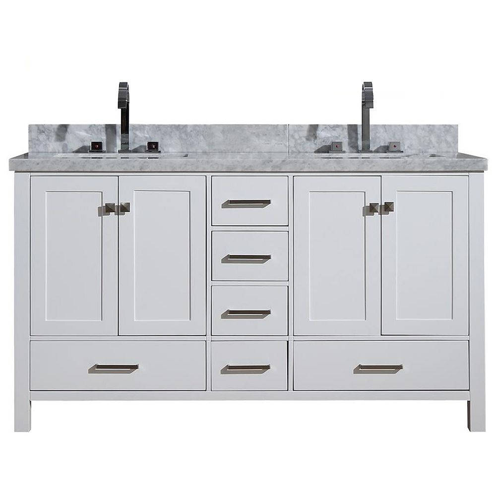 ARIEL Cambridge 61 inch Double Rectangle Sink Vanity In White