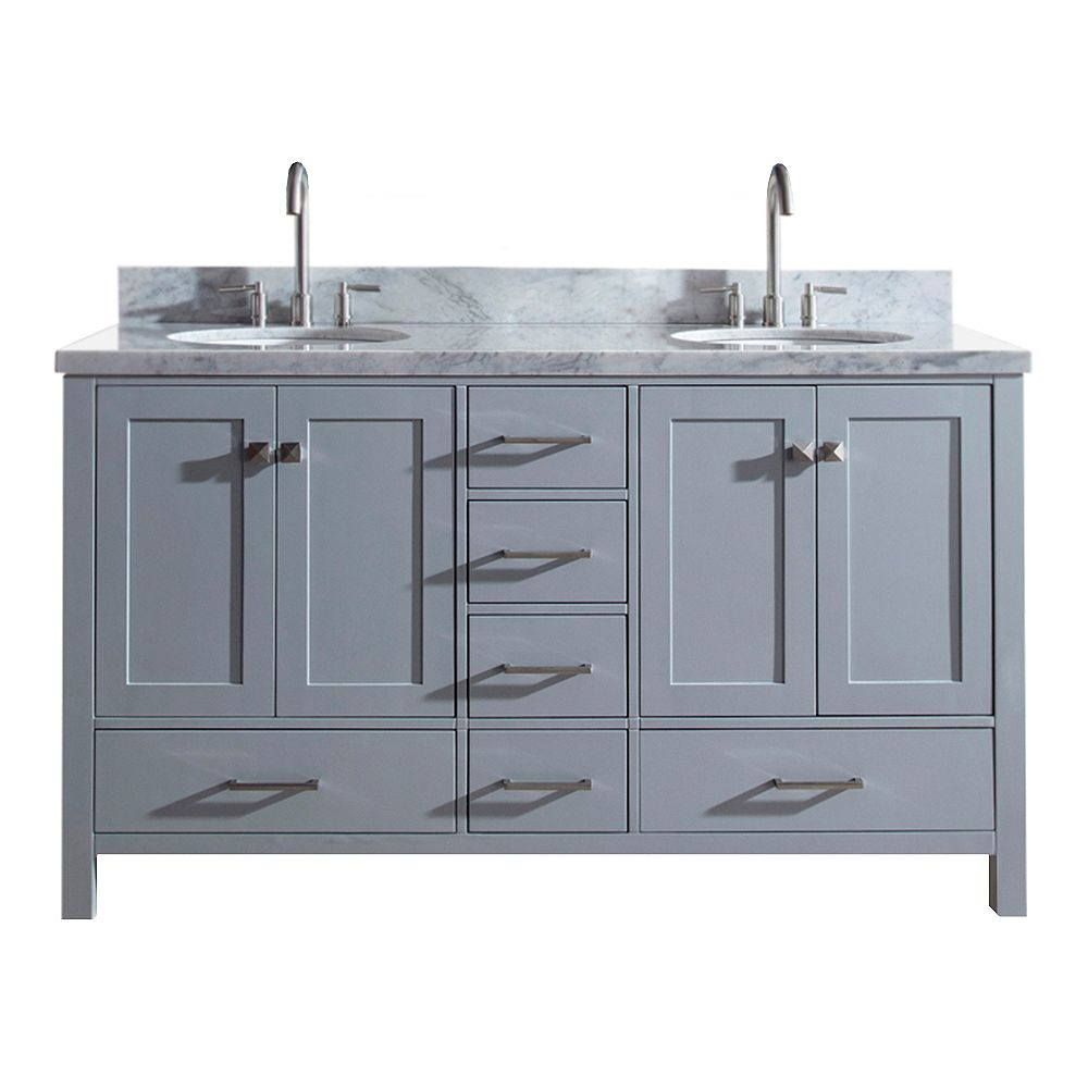 ARIEL Cambridge 61 inch Double Oval Sink Vanity In Grey
