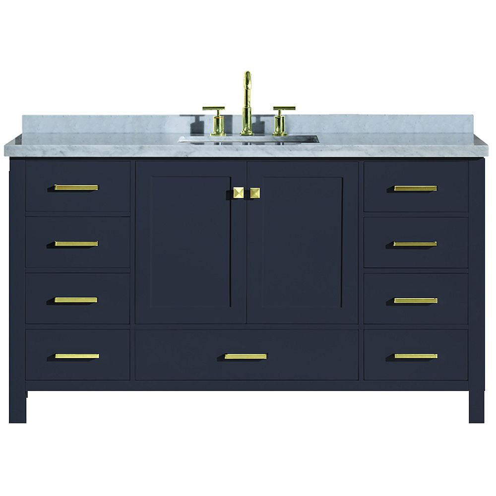 ARIEL Cambridge 61 inch Single Rectangle Sink Vanity In Midnight Blue
