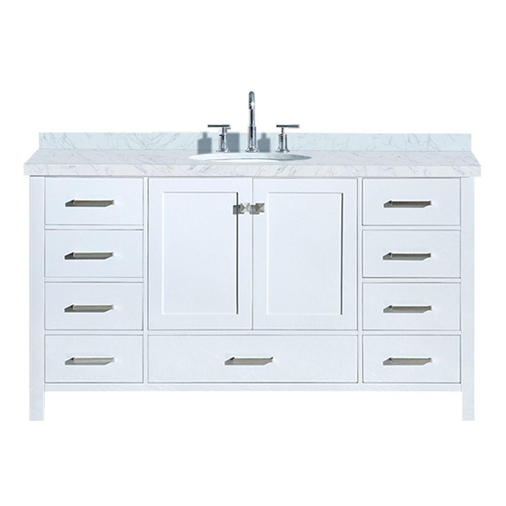 ARIEL Cambridge 61 inch Single Oval Sink Vanity In White