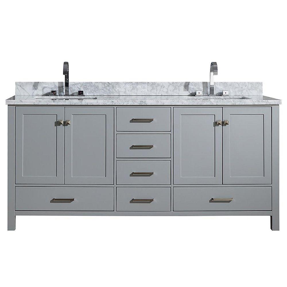 ARIEL Cambridge 73 inch Double Rectangle Sink Vanity In Grey