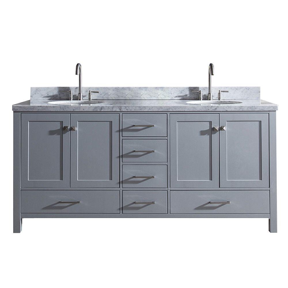 ARIEL Cambridge 73 inch Double Oval Sink Vanity In Grey
