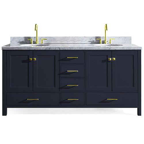 ARIEL Cambridge 73 inch Double Oval Sink Vanity In Midnight Blue