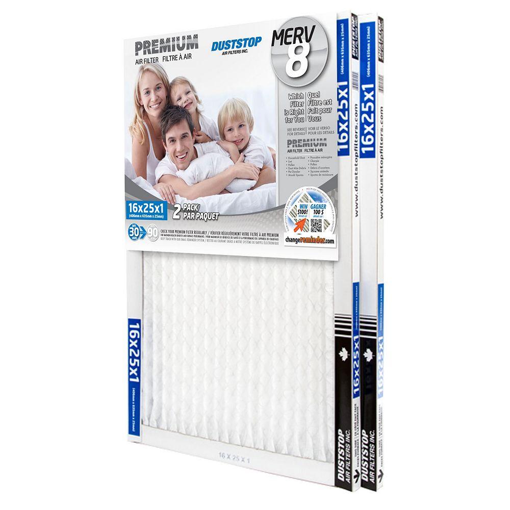 Duststop 16x25x1 MERV 8 Premium filter pack of 12 filters