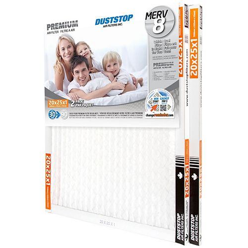 20x25x1 MERV 8 Premium filter pack of 12 filters