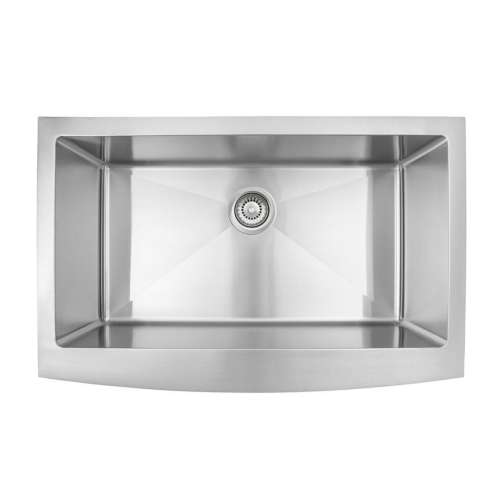 Presenza Dual Mount Farmhouse Stainless Steel Single Bowl Sink With Micro Radius Corners The Home Depot Canada