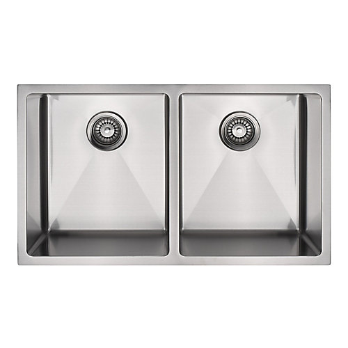 Under Mount Stainless Steel Double Bowl Sink with Micro Radius Corners
