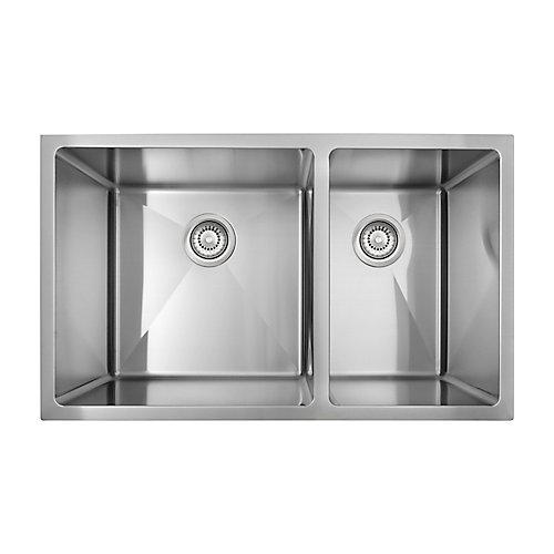 Under Mount - Stainless Steel Offset Double Bowl Sink with Micro Radius Corners