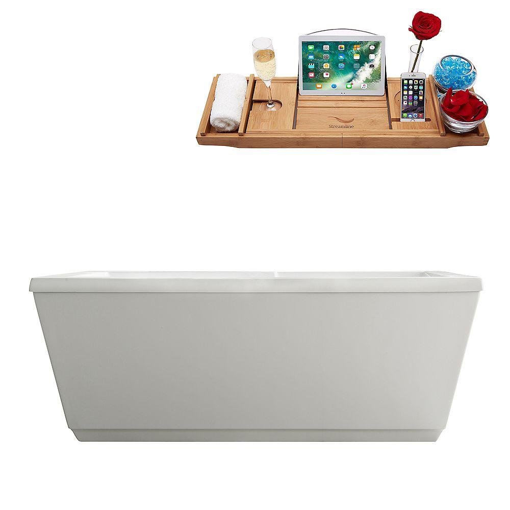Streamline 59 inch M-2021-59FSWH-DM Soaking Freestanding Tub and tray With Internal Drain