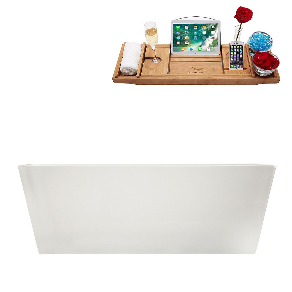 Streamline 59 inch M-2241-59FSWH-FM Soaking Freestanding Tub and tray With Internal Drain