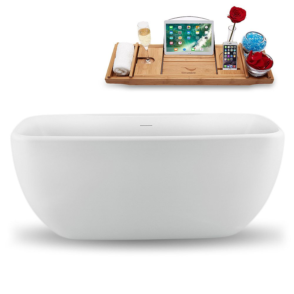 Streamline 59 inch N1620WH Freestanding Tub and Tray with Internal Drain