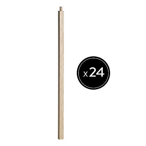 """32"""" H x 1.06"""" x 1.06"""" Barreau en Chêne avec goujon- Ensemble de 24"""
