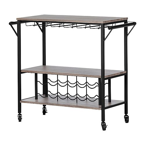 Munich Bar Cart with Wine Rack, Weathered Oak and Matte Black