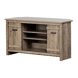 Exhibit Corner TV Stand, for TVs up to 42-inch, Weathered Oak