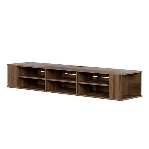 "City Life 66"" Wide Wall Mounted Console, Natural Walnut"
