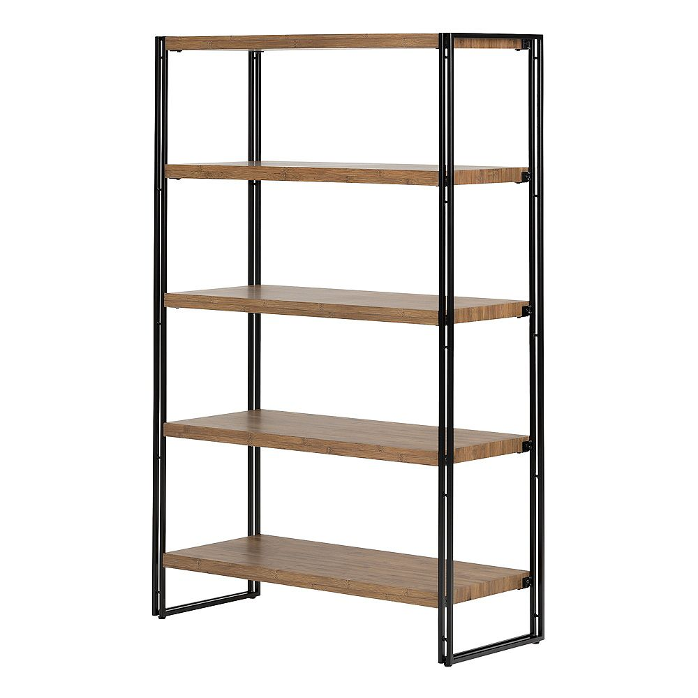 South Shore Gimetri 5 Fixed Shelves - Shelving Unit, Rustic Bamboo