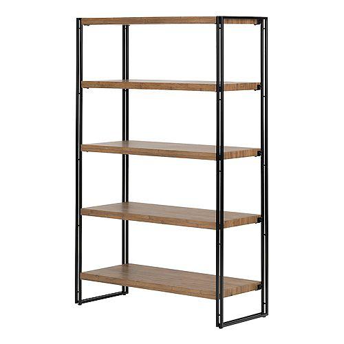 Gimetri 5 Fixed Shelves - Shelving Unit, Rustic Bamboo