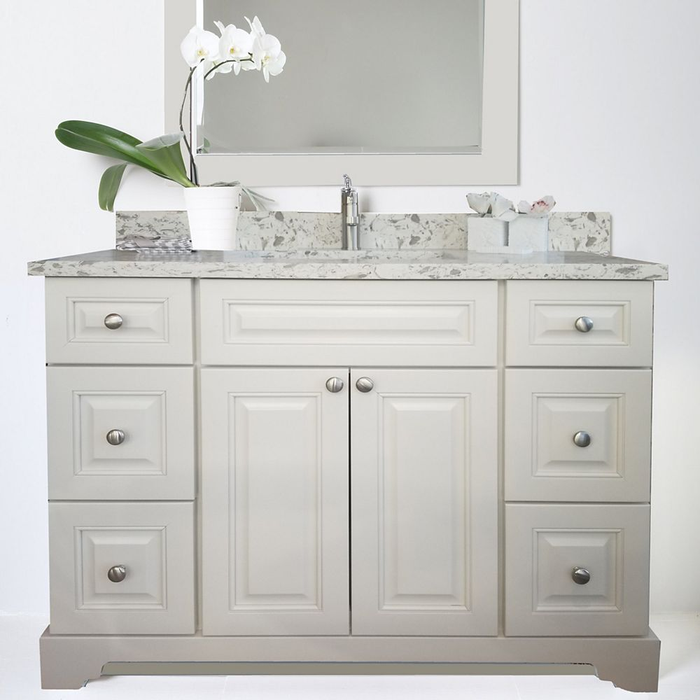 LUKX Bold Damian 48 inch Antique White Vanity with Quartz Top in Milky Way