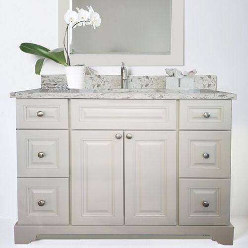 Bold Damian 48 inch Antique White Vanity with Quartz Top in Milky Way
