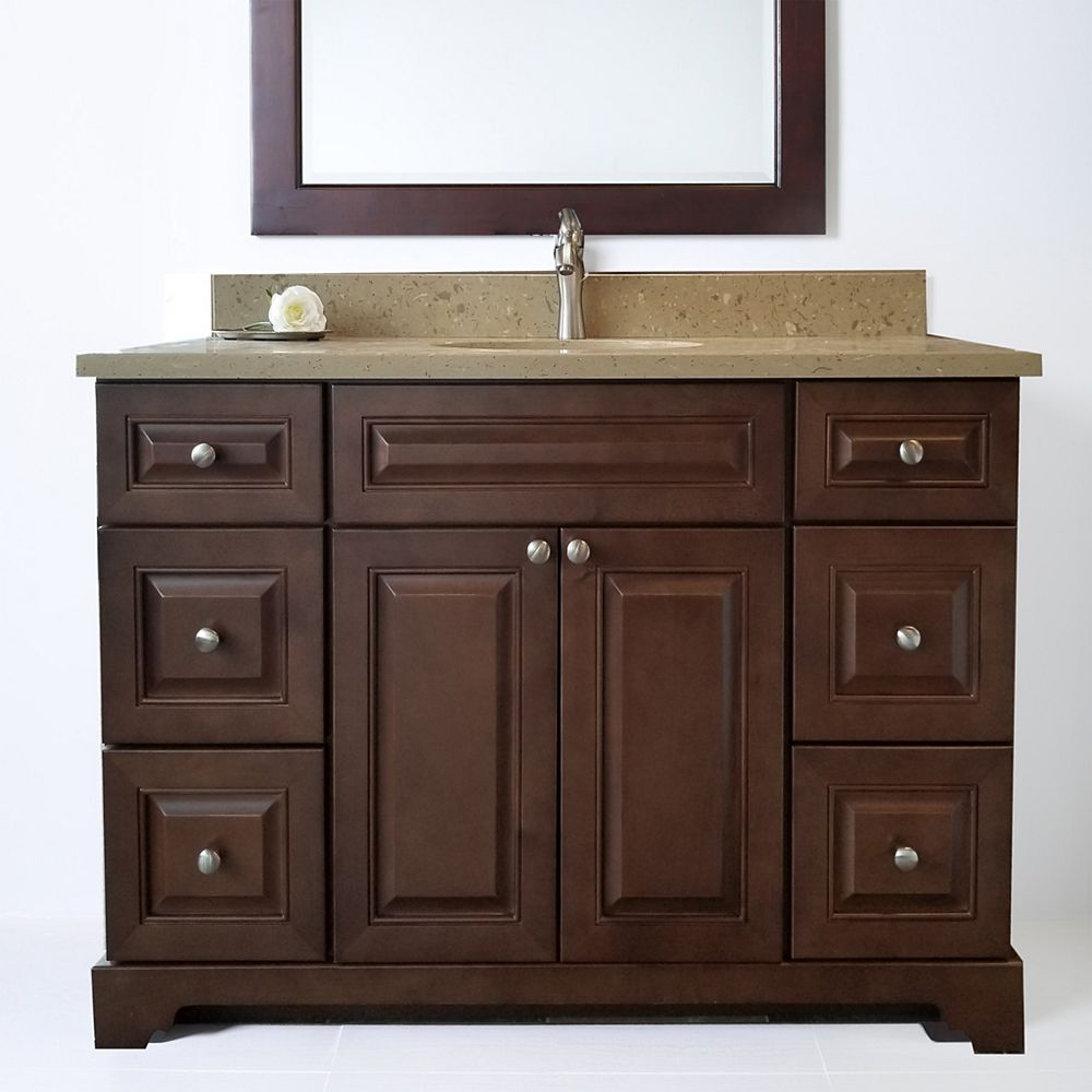 LUKX Bold Damian 42 inch Royalwood Vanity with Quartz Top in Royal Brown