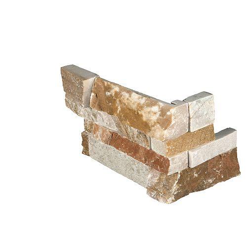 MSI Stone ULC Golden White Splitface Ledger Corner 6-inch x 18-inch Natural Quartzite Wall Tile (3 sq. ft. / case)