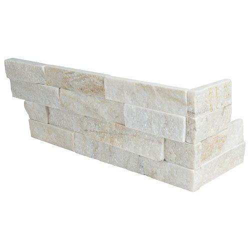 MSI Stone ULC Carr. de quartzite naturel pour murs Arctic, doré, à face éclatée, pann. de coin, 6 x 18 po, 4,5 pi2/bte
