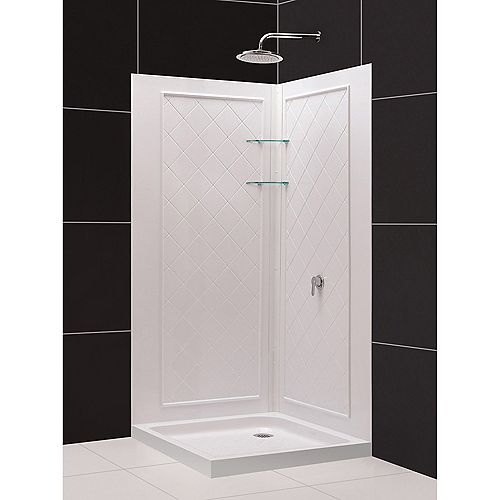 DreamLine 32 inch D x 32 inch W SlimLine Double Threshold Drain Base and Acrylic Backwall Kit in White