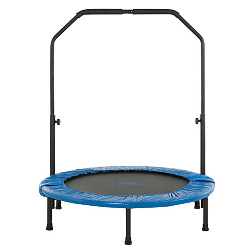 40 inch Mini Foldable Rebounder Fitness Trampoline with Adjustable Handrail