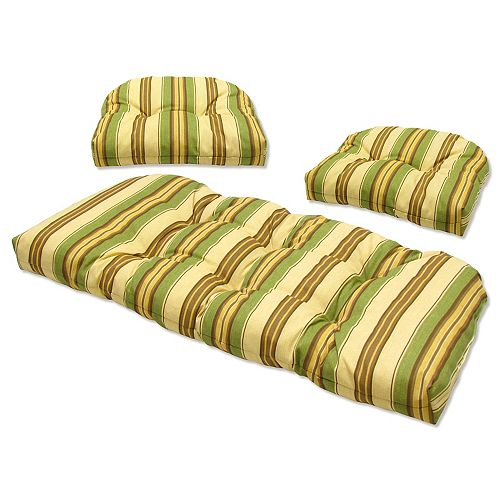 3 Piece Cushion Set Stripe Green